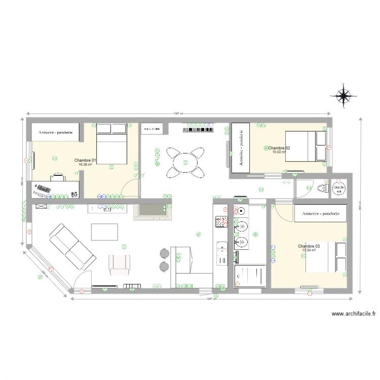 maison l ognan plan lectricit plan 3 pi ces 40 m2 dessin par leinst. Black Bedroom Furniture Sets. Home Design Ideas