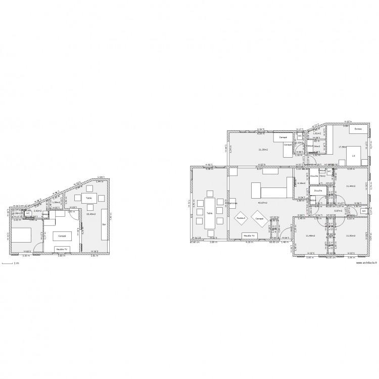 Maison f5 type plan 23 pi ces 203 m2 dessin par mimicnc for Plan de maison f5