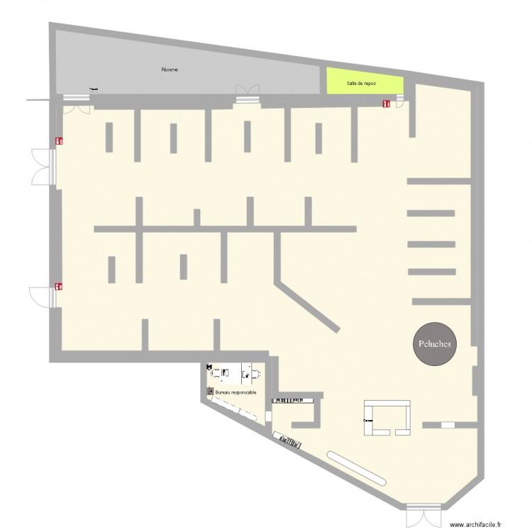 Plan magasin King Jouet - Plan 4 pièces 232 m2 dessiné par anissa2110