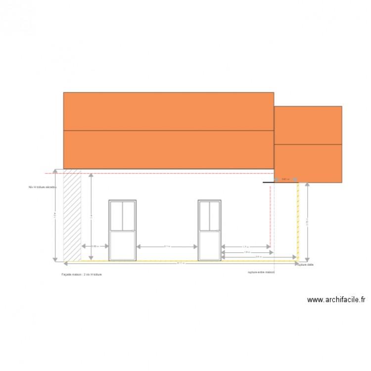 facade maison vue patio 1 plan dessin par cuadros isabelle. Black Bedroom Furniture Sets. Home Design Ideas