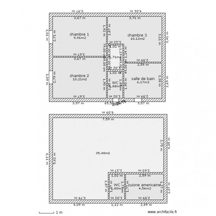 plan maison mitoyenne plan 9 pi ces 82 m2 dessin par pharma6938. Black Bedroom Furniture Sets. Home Design Ideas