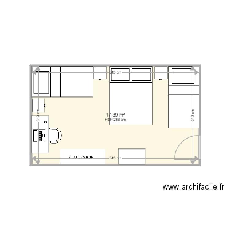 Amenagement chambre sous sol anermis plan 1 pi ce 17 m2 dessin par padupire - Plan amenagement sous sol ...