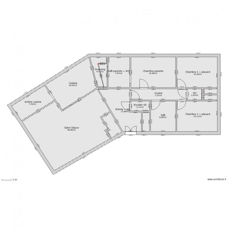 maison v plain pied bureau tage plan 13 pi ces 165 m2. Black Bedroom Furniture Sets. Home Design Ideas