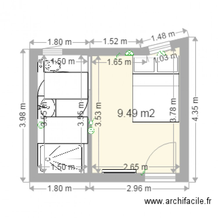 Salle de bain 03 plan 1 pi ce 9 m2 dessin par duboille for Plan salle de bain douche