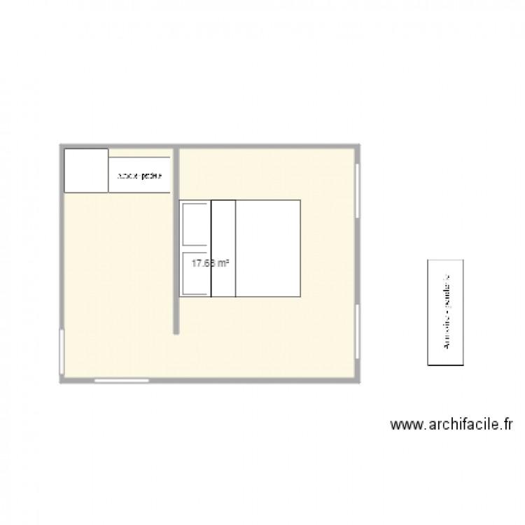 Chambre parentale plan 1 pi ce 18 m2 dessin par sl6433 for Taille chambre parentale