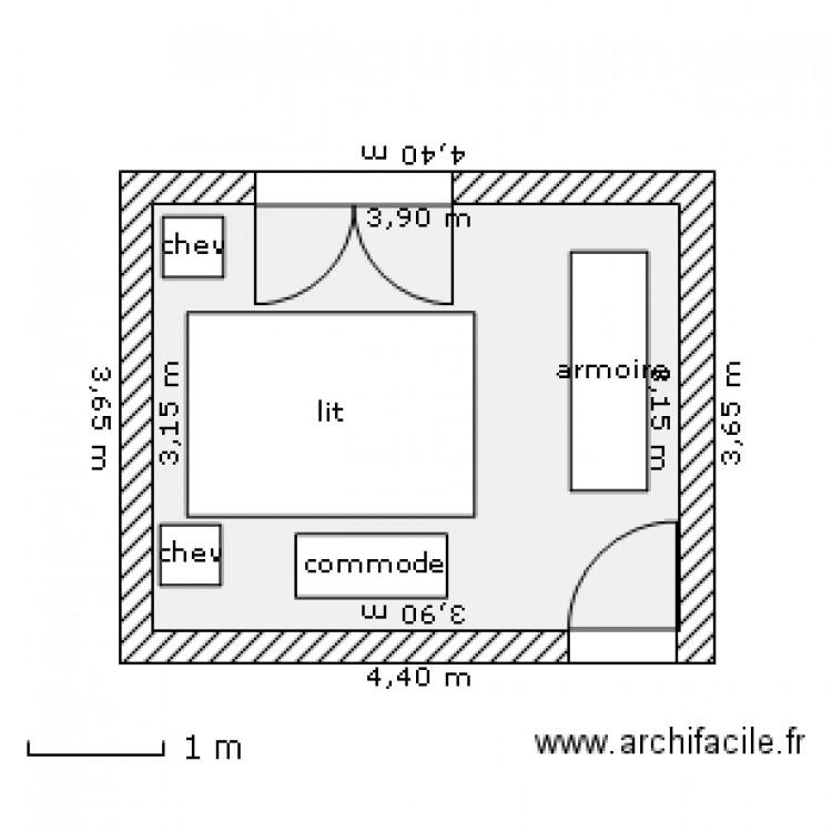 Chambre coucher plan 1 pi ce 12 m2 dessin par charly for Plan chambre a coucher avec dressing et salle de bain