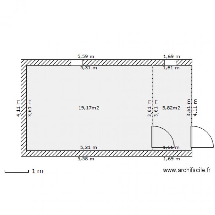garage buanderie serpaize plan 2 pi ces 25 m2 dessin par gepetto07. Black Bedroom Furniture Sets. Home Design Ideas