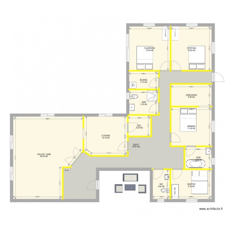 Maison plain pied 4 chambres plan 13 pi ces 155 m2 for Photo maison en l