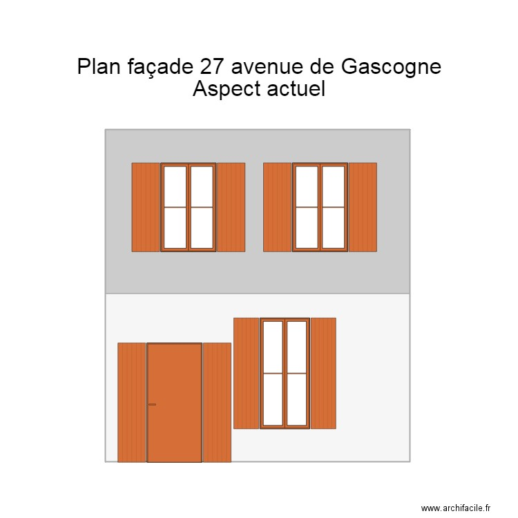 plan fa ade avant aspect actuel plan 2 pi ces 33 m2 dessin par flomaib. Black Bedroom Furniture Sets. Home Design Ideas