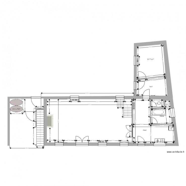 Plan maison plan 5 pi ces 101 m2 dessin par mickaelman for Plan de maison 5 pieces