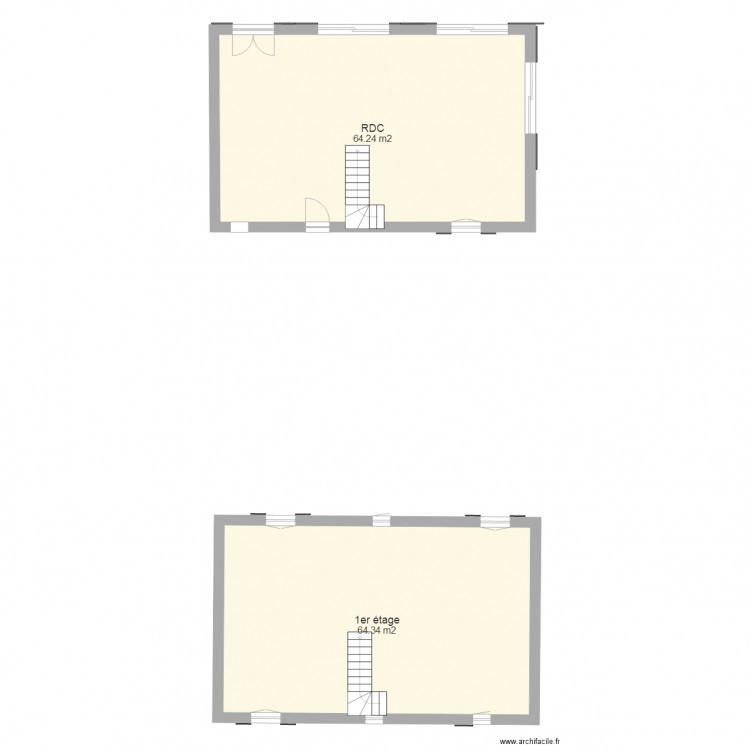 plan maison plan 2 pi ces 129 m2 dessin par jblillo80. Black Bedroom Furniture Sets. Home Design Ideas