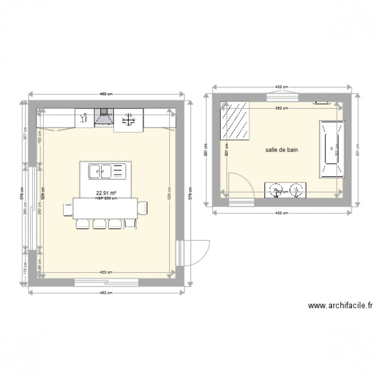 cuisine et salle de bains plan 2 pi ces 34 m2 dessin par vincentg536. Black Bedroom Furniture Sets. Home Design Ideas