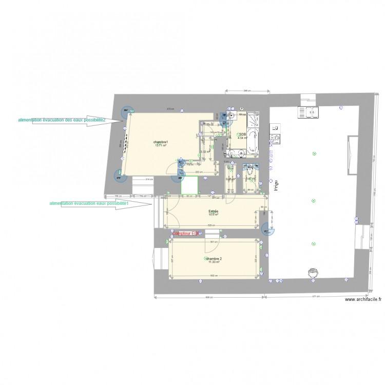 monetier rdc electricit sans meubles plan 8 pi ces 46. Black Bedroom Furniture Sets. Home Design Ideas