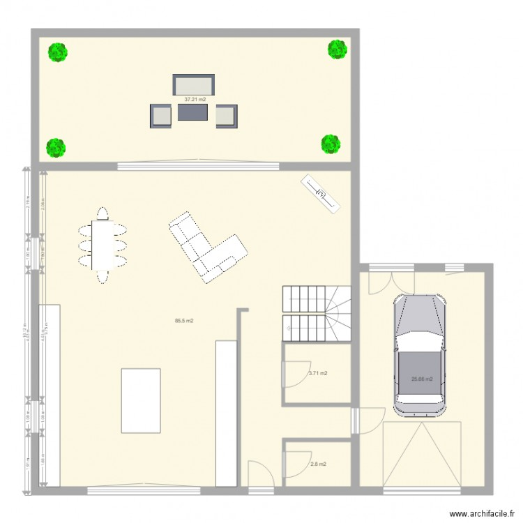 plan re chausse plan 5 pi ces 155 m2 dessin par david caramelo. Black Bedroom Furniture Sets. Home Design Ideas