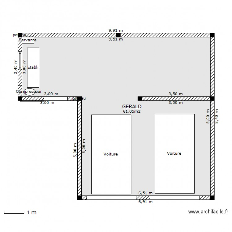 garage double atelier plan 1 pi ce 61 m2 dessin par decaesteke gerald. Black Bedroom Furniture Sets. Home Design Ideas