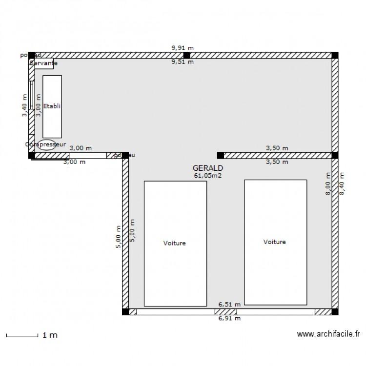 Garage double atelier plan 1 pi ce 61 m2 dessin par for Plans de garage gratuits en ligne