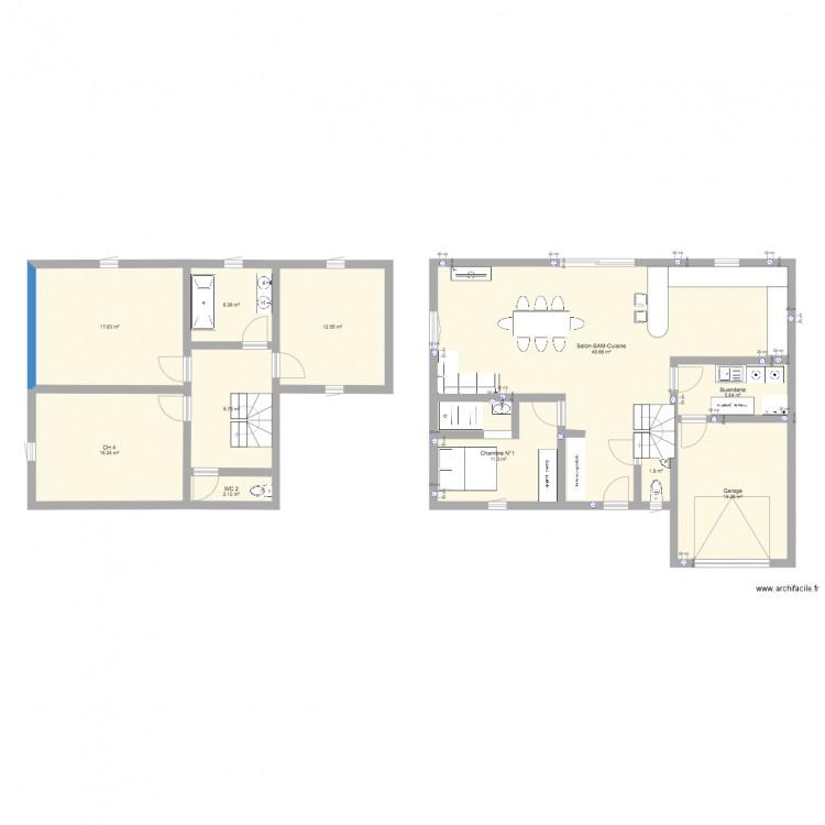 Plan maison 2 plan 11 pi ces 148 m2 dessin par maclanglade - Plan de maison 2 pieces ...