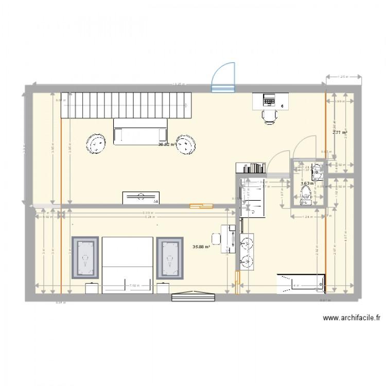Extension tage plan 4 pi ces 76 m2 dessin par demanfonseca for Extension etage