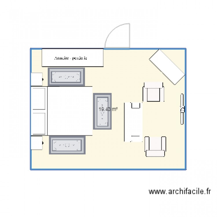 Chambre parentale plan 1 pi ce 19 m2 dessin par gadam2016 for Taille chambre parentale
