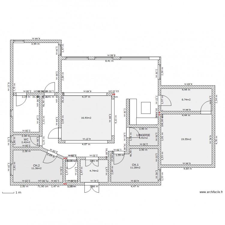 Maison patio et terrasse plan 8 pi ces 79 m2 dessin par for Plan maison patio