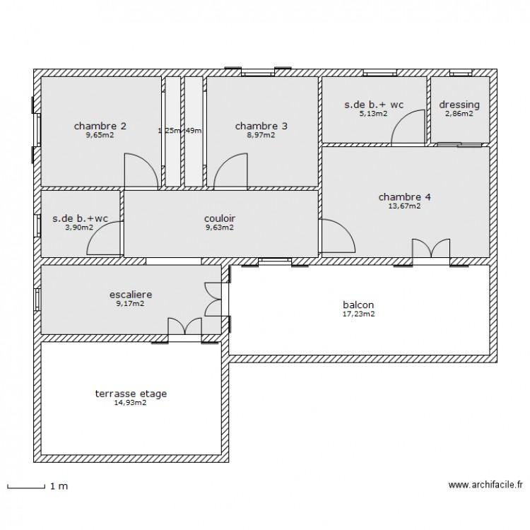 Maison au maroc 2 etage plan 12 pi ces 98 m2 dessin for Plan maison marocaine