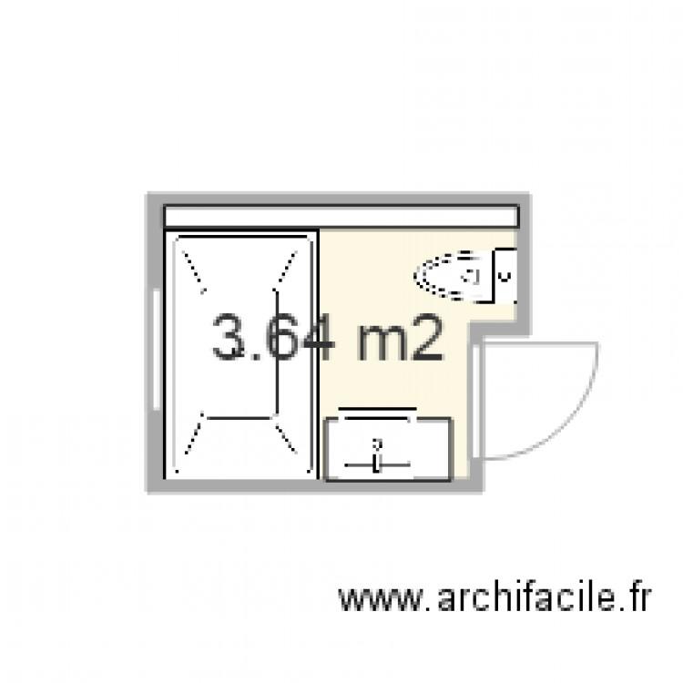 Salle de bain juillet 2015 plan 1 pi ce 4 m2 dessin par for Salle de bain 4 m2