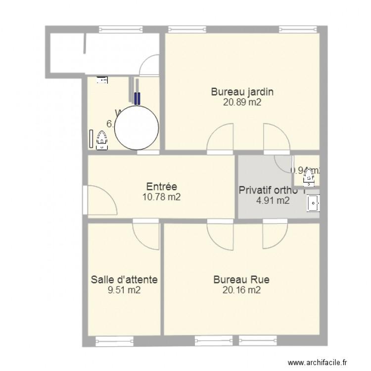 toilette ouvert plan 7 pi ces 73 m2 dessin par. Black Bedroom Furniture Sets. Home Design Ideas