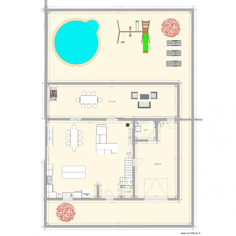 rez de chausse plan 5 pi ces 410 m2 dessin par sylvielobao. Black Bedroom Furniture Sets. Home Design Ideas