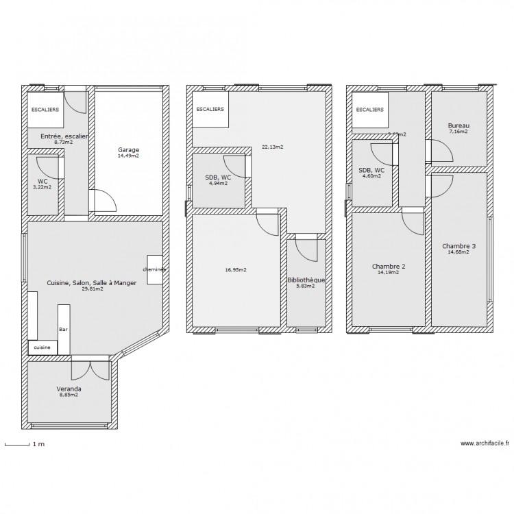maison sur 3 niveaux plan 14 pi ces 164 m2 dessin par lexa. Black Bedroom Furniture Sets. Home Design Ideas