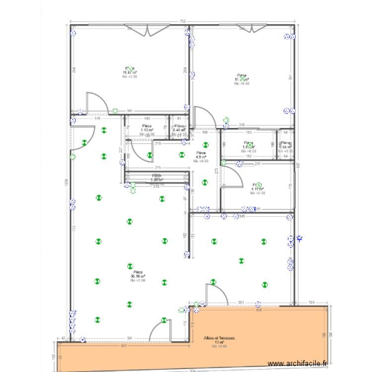 implantation electrique avec cablage plan dessin par keyven. Black Bedroom Furniture Sets. Home Design Ideas