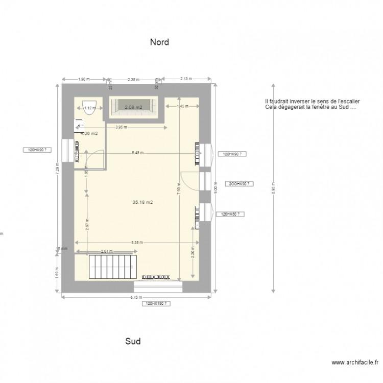 maison carr e rdch plan 3 pi ces 41 m2 dessin par. Black Bedroom Furniture Sets. Home Design Ideas