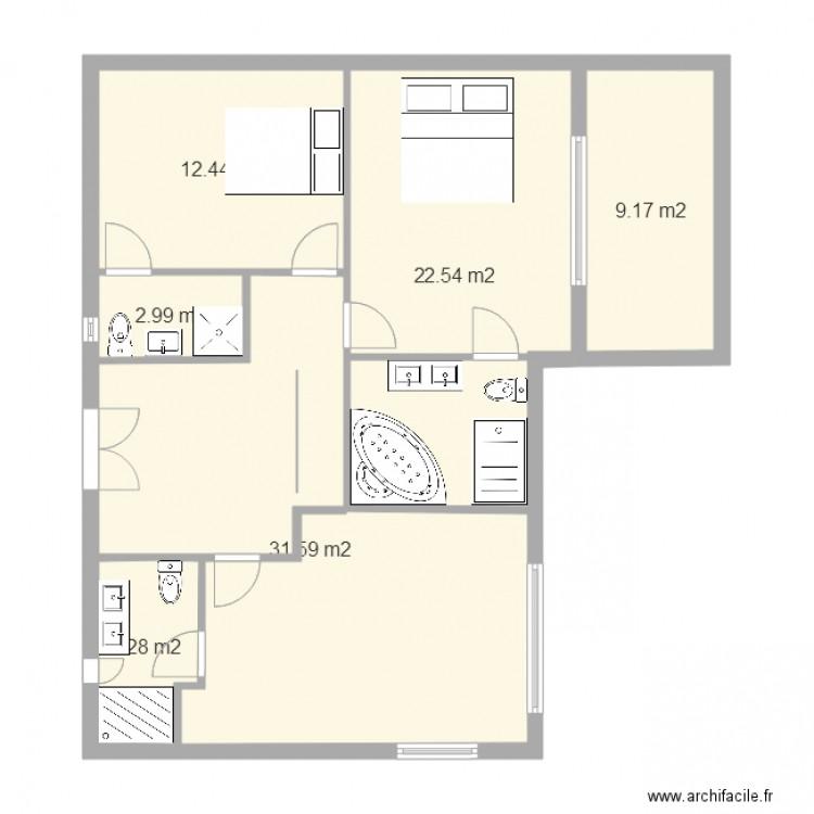 Célèbre plan maison etage - Plan 6 pièces 83 m2 dessiné par  UN14