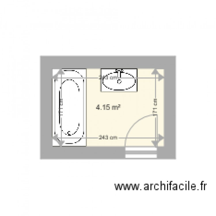 Salle de bain vannes plan 1 pi ce 4 m2 dessin par jipi34 for Salle de bain 4 m2