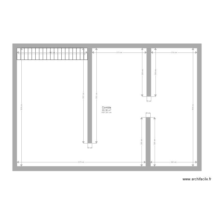 combles am nageables plan 1 pi ce 95 m2 dessin par. Black Bedroom Furniture Sets. Home Design Ideas