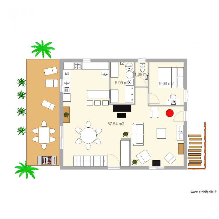 Plan Maison 2 Niveaux N2. Plan De 4 Pièces Et 74 M2