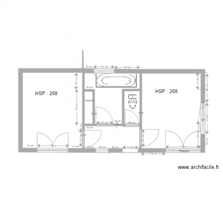 niveau 2 2 chambres sdb toilette electricit plan 6 pi ces 30 m2 dessin par jpmar97400. Black Bedroom Furniture Sets. Home Design Ideas