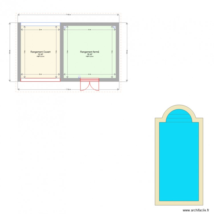 abri de jardin plan 2 pi ces 28 m2 dessin par naearsnl. Black Bedroom Furniture Sets. Home Design Ideas