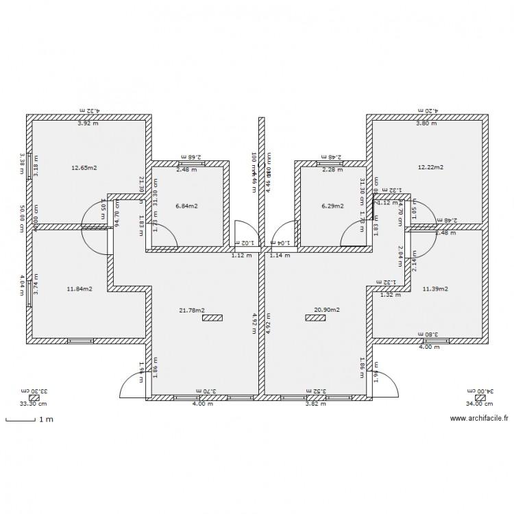 Maisons jumelees plan 8 pi ces 104 m2 dessin par maso for Plan maison facile