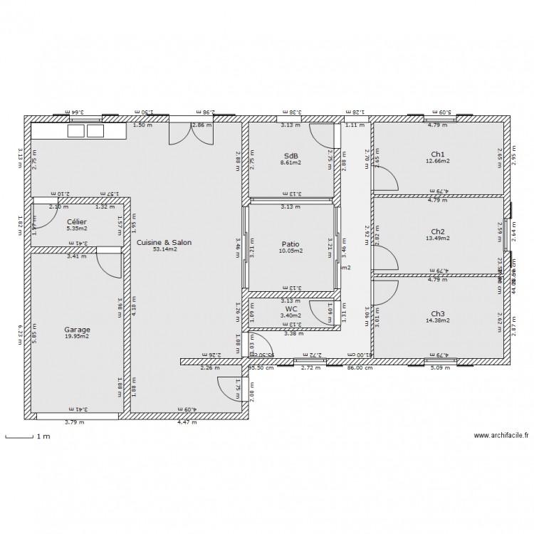 Maison de plein pied 2 patio plan 10 pi ces 154 m2 for Dessiner plan patio