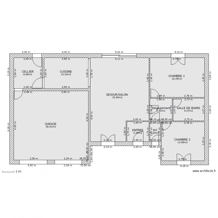 Jeune plain pied 2 Chambres et double garage intégré - Plan 10 pièces KJ-05