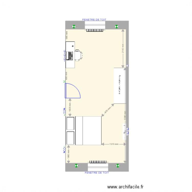 Extension etage 2 plan 1 pi ce 25 m2 dessin par pouillery for Extension etage