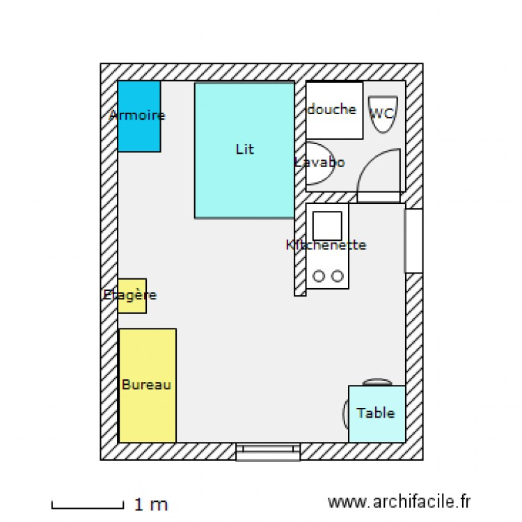 plan d 39 un studio plan 2 pi ces 20 m2 dessin par. Black Bedroom Furniture Sets. Home Design Ideas