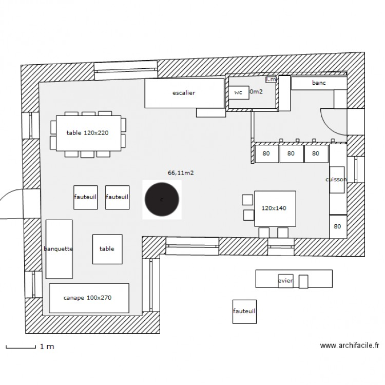 Impl brev piece a vivre plan 2 pi ces 68 m2 dessin par for Plan piece a vivre 40m2