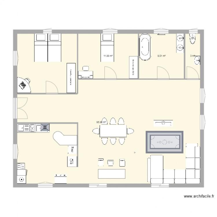 Maison plan 4 pi ces 120 m2 dessin par enzo555 - Plan appartement 120 m2 ...