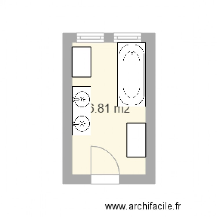 Salle de bain plan 1 pi ce 7 m2 dessin par alexandra82 for Salle de bain 7 5 m2