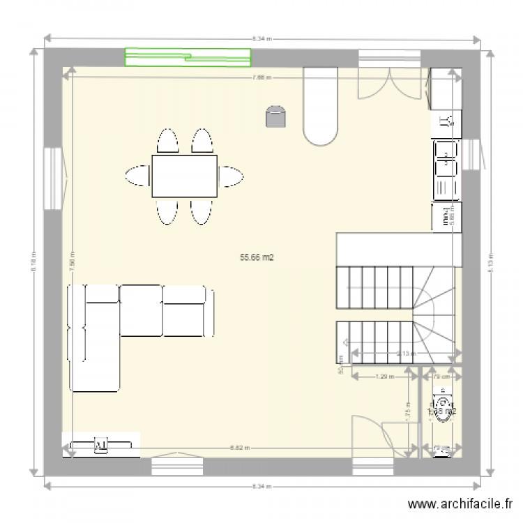 plan maison cl ment plan 2 pi ces 57 m2 dessin par. Black Bedroom Furniture Sets. Home Design Ideas