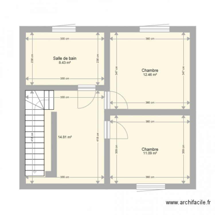 plan maison 2 plan 4 pi ces 47 m2 dessin par z. Black Bedroom Furniture Sets. Home Design Ideas