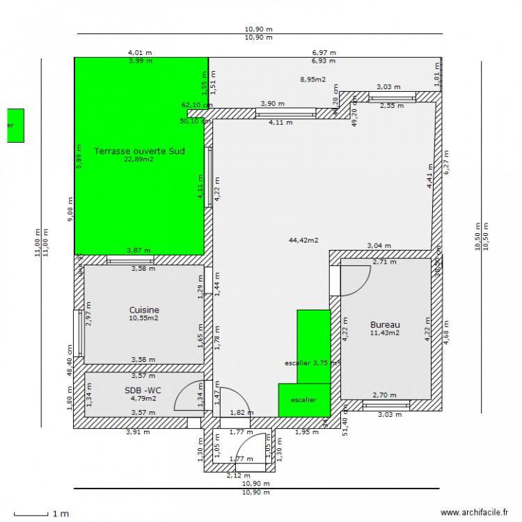 Emprise au sol plan 6 pi ces 103 m2 dessin par philibertjp for Piscine emprise au sol