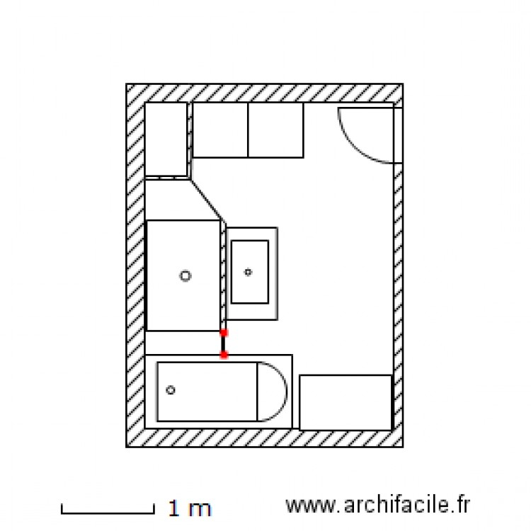 salle de bain plan 2 pi ces 10 m2 dessin par anmado. Black Bedroom Furniture Sets. Home Design Ideas