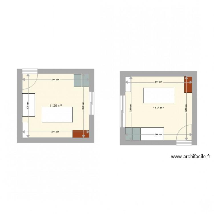 Plan bureau service civique plan 2 pi ces 23 m2 dessin for Bureau petite taille